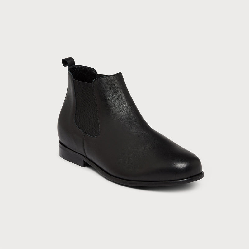 black leather chelsea boot front view