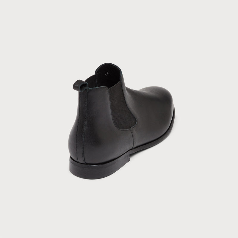 black leather chelsea boot back view