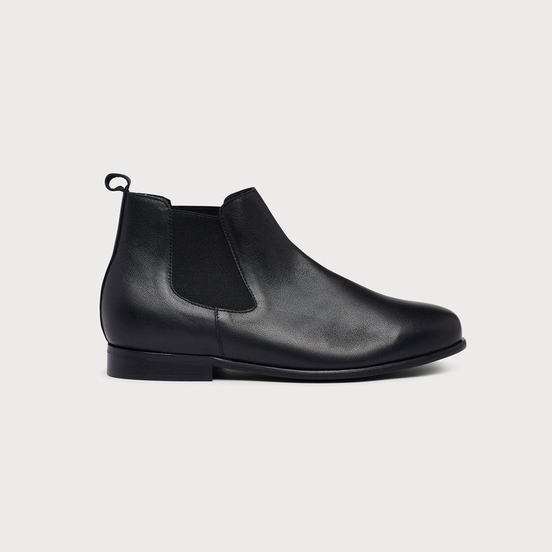 black leather chelsea boot side view