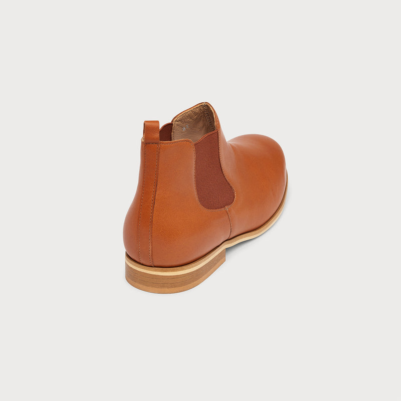 cognac leather flat chelsea boot back view