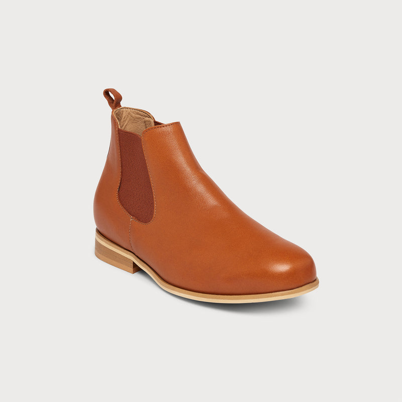 cognac leather flat chelsea boot front view