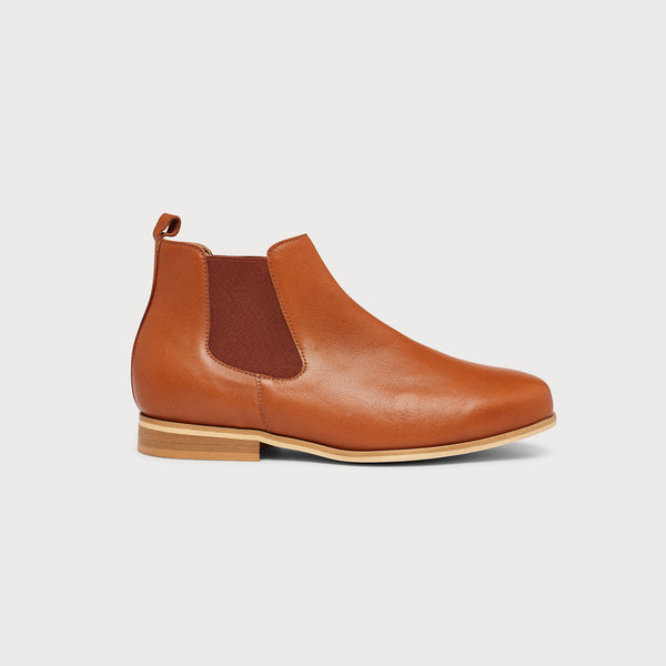 cognac leather flat chelsea boot side view