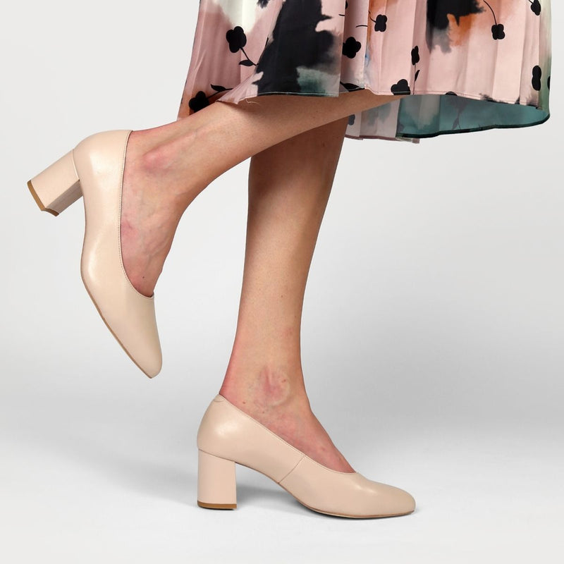 nude leather court shoe on feet