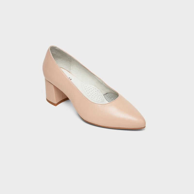 nude leather block heel shoe front