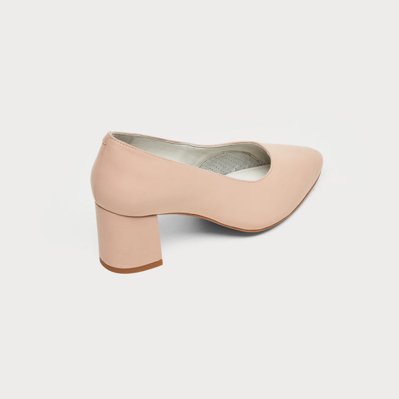 nude leather block heel court shoe back