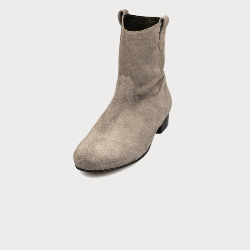 grey suede boots front view