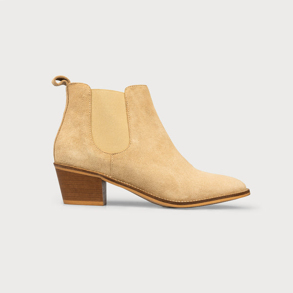 cappuccino suede ankle boots side view