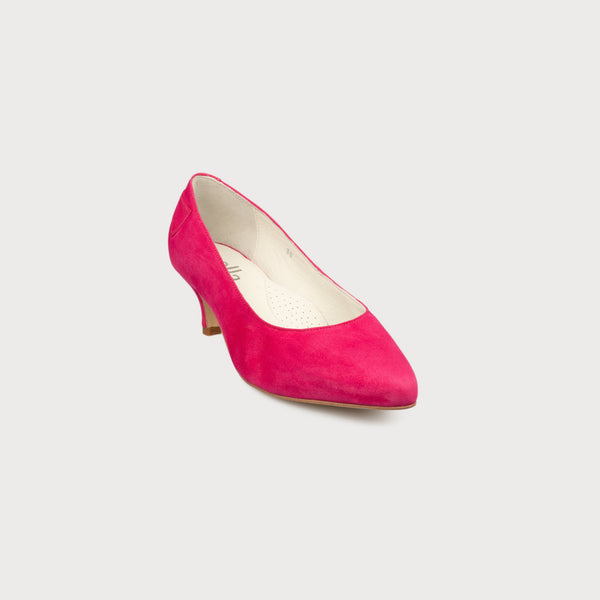 fuchsia kitten heel court shoes for women with bunions in a wide fit front view