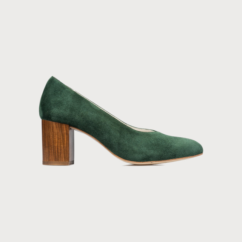 green suede block heel shoes bunions wide feet stylish on trend