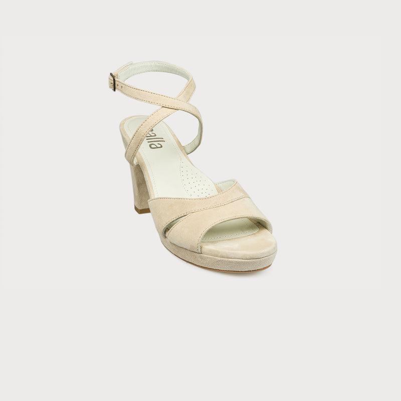 cream suede heeled sandal front view