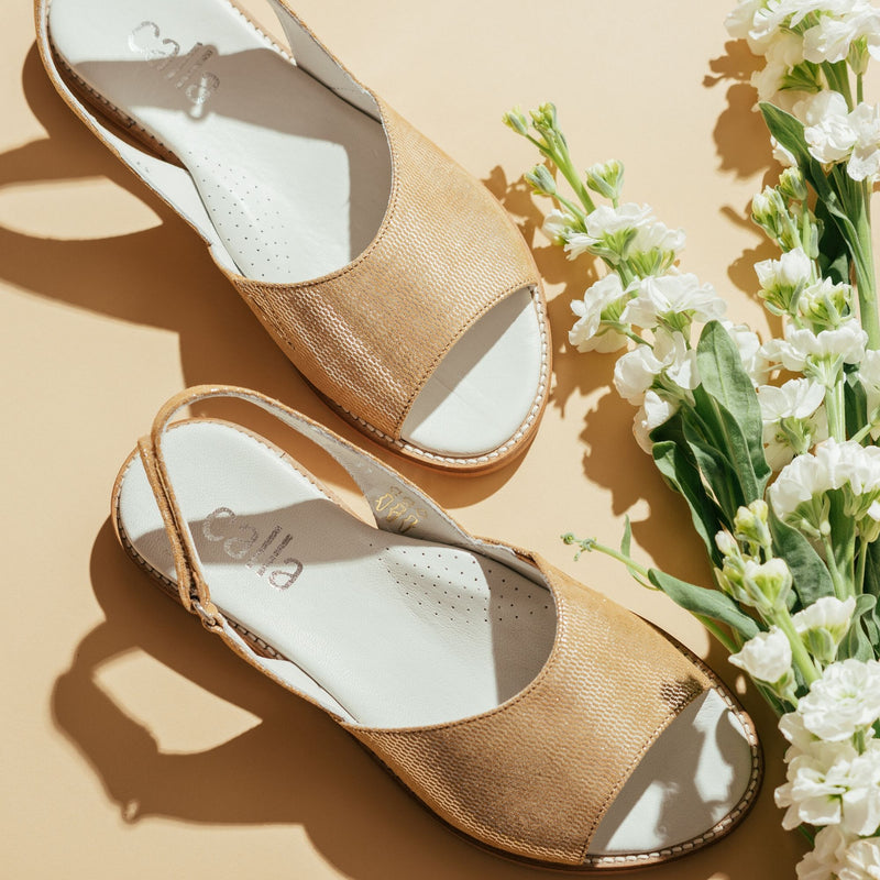 gold slingback sandals for bunions
