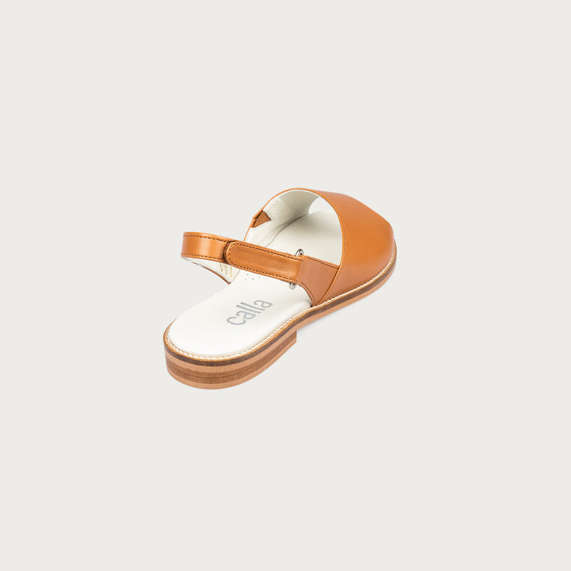 flat tan leather sandal back view