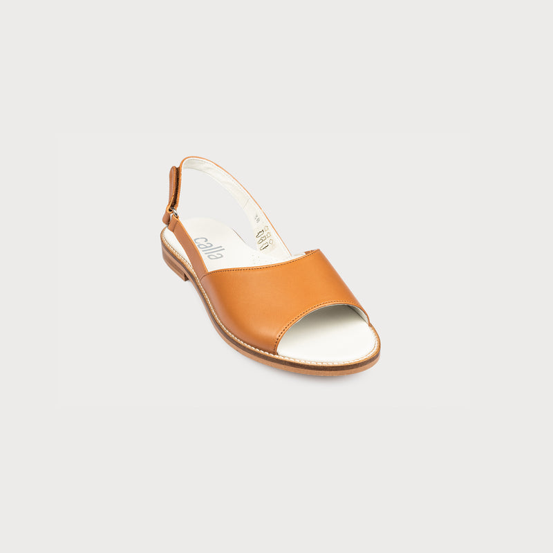 flat tan leather sandal front view