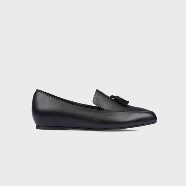 black leather loafer side view