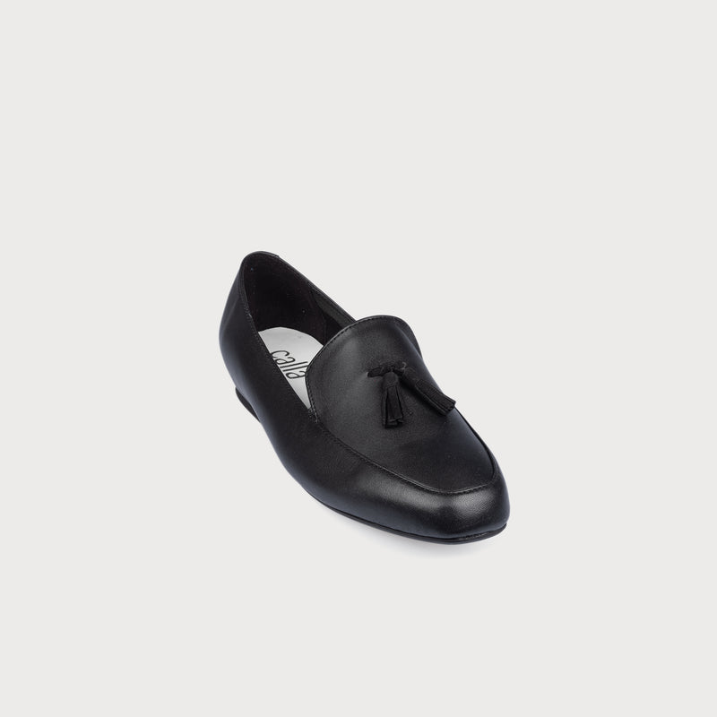 black leather loafer front view