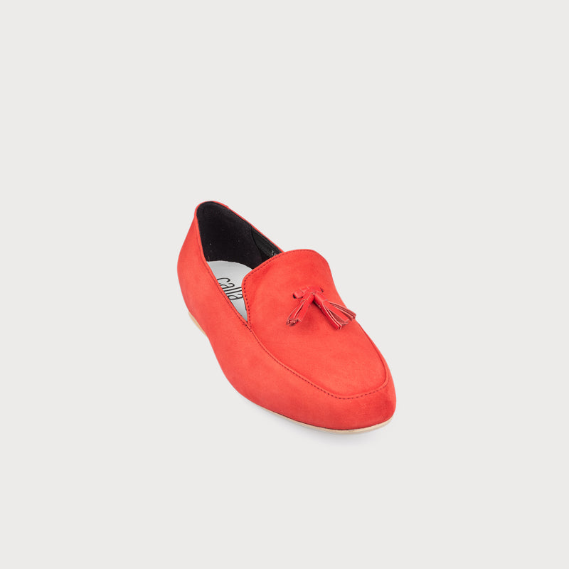 red suede flat loafer front view