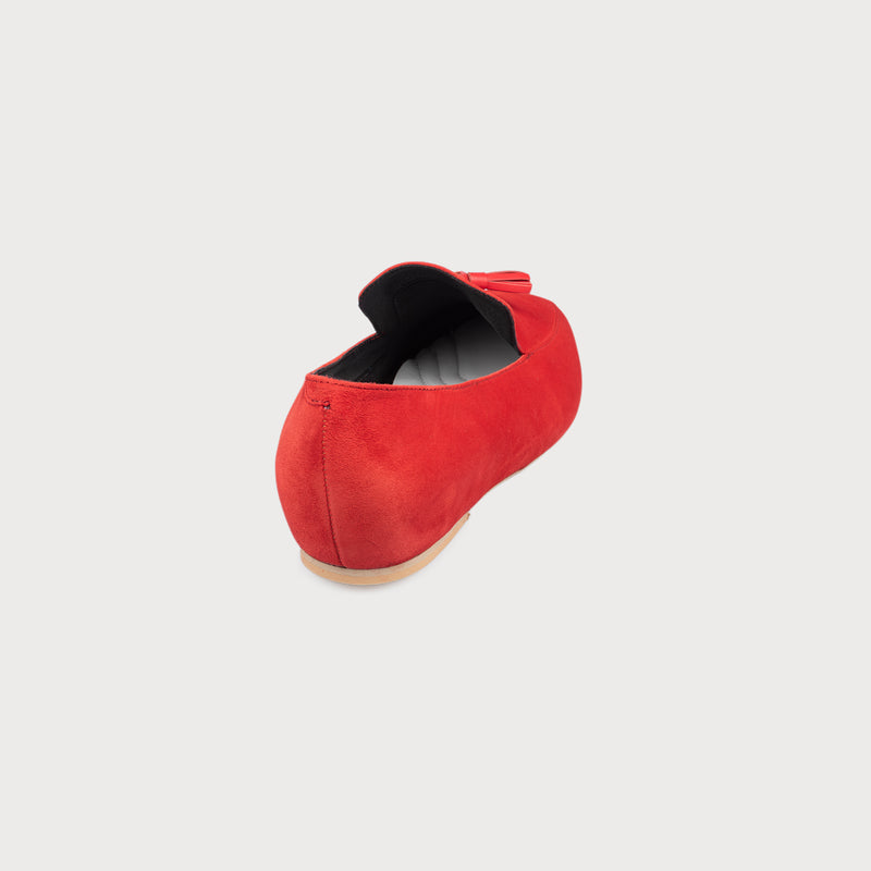 red suede loafer shoe back view