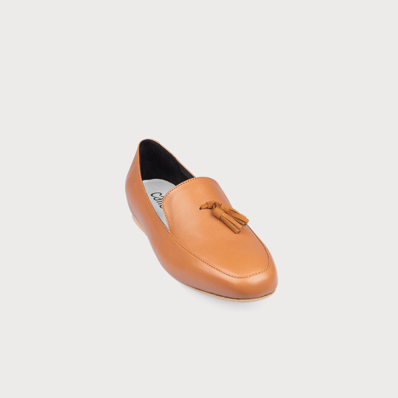 tan loafer front view