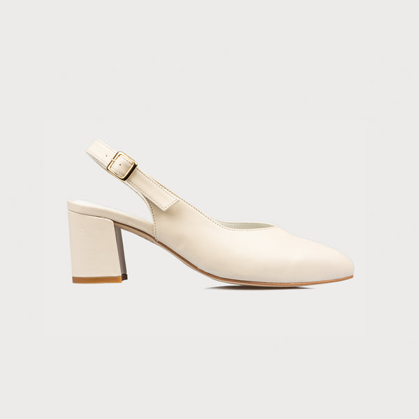 cream block heel side view