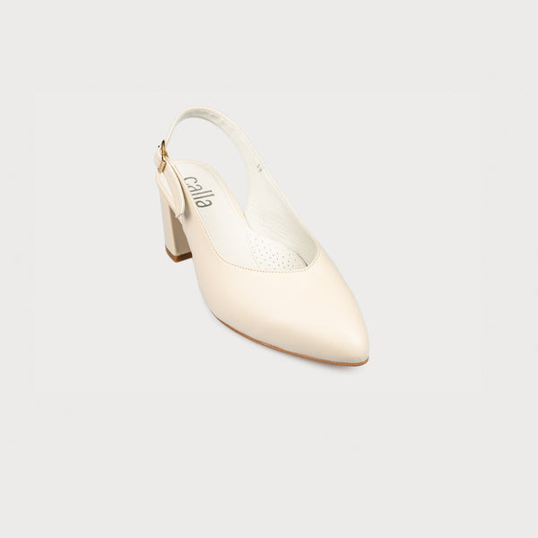 cream leather block heel slingback shoe