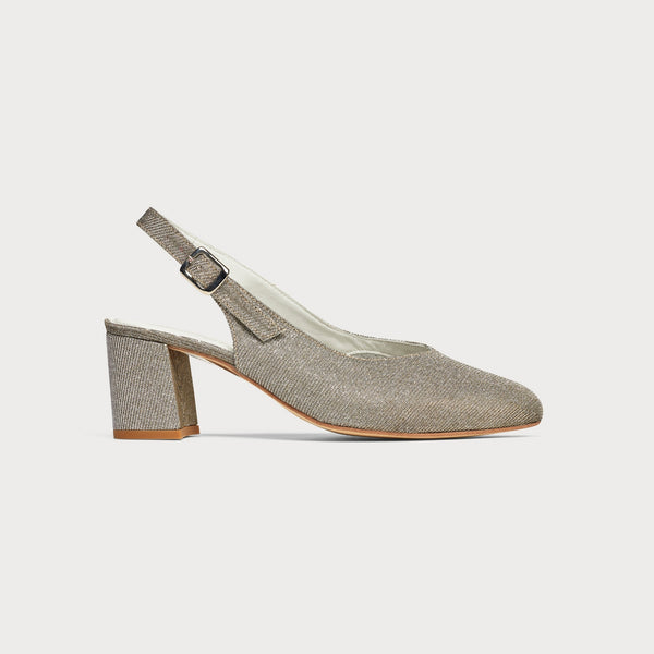sparkle leather slingback heel shoe side