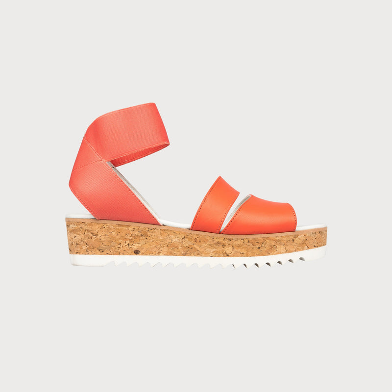 coral leather cork platform sandals side view