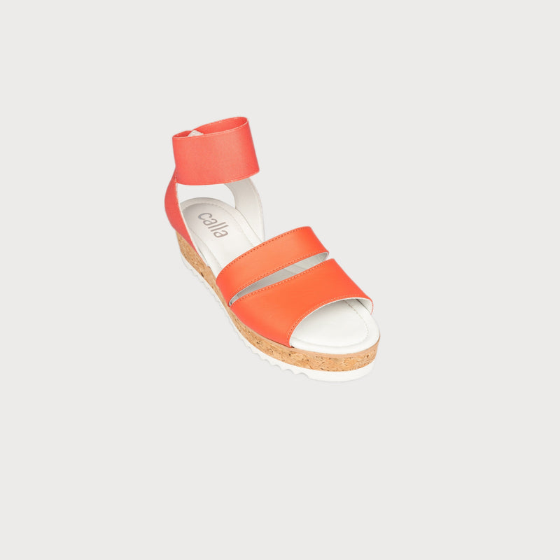 coral leather sandals cork platform front