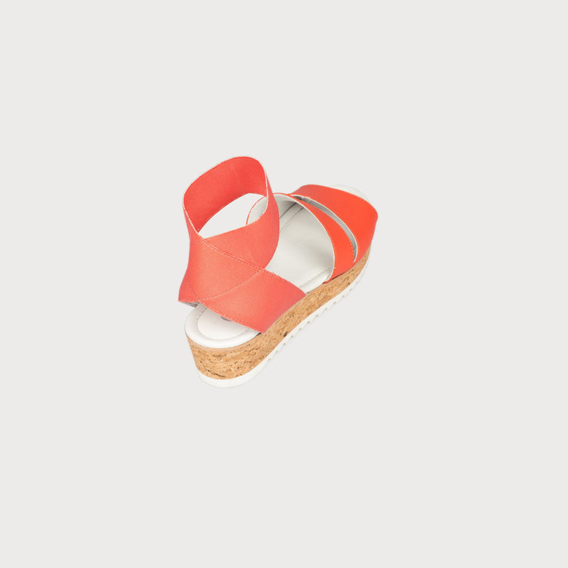 coral leather sandals cork platform back