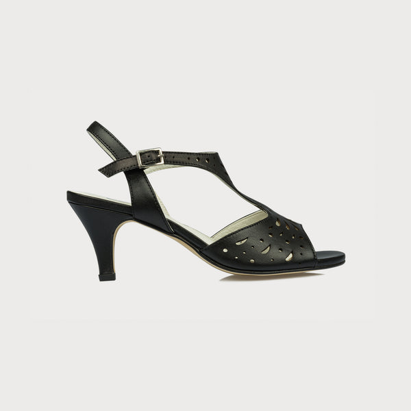 black summer sandals with a kitten heel side view