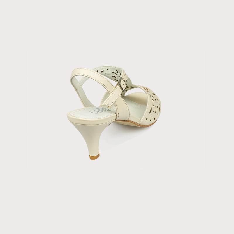 cream leather heeled summer sandal back view