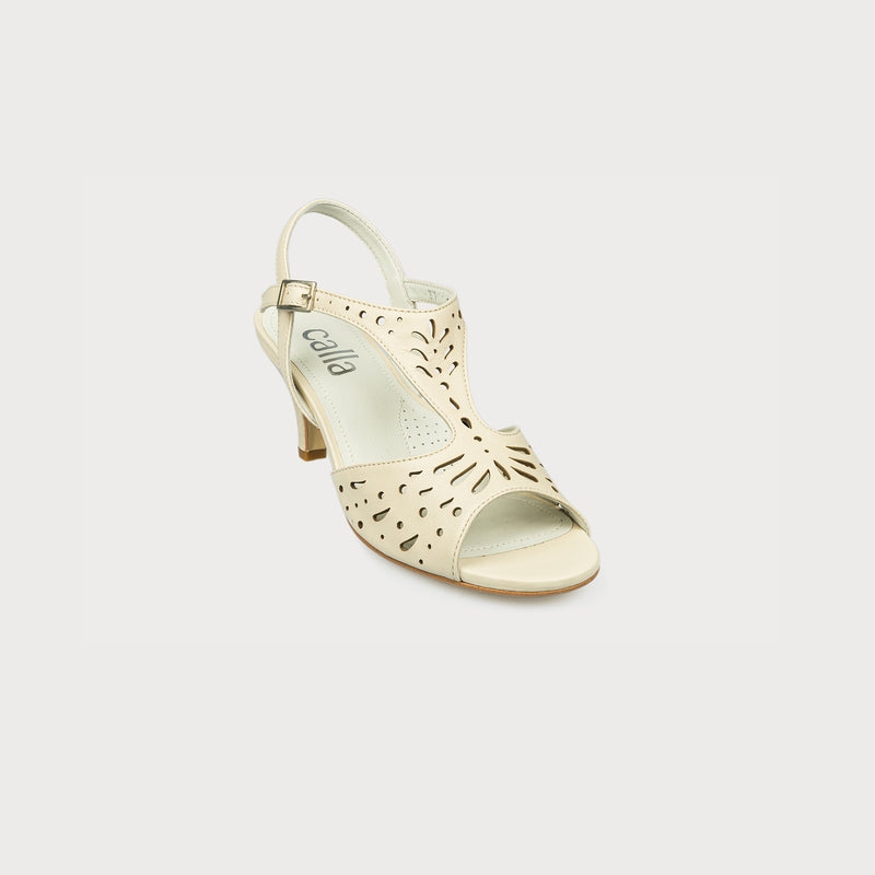 cream kitten heel summer sandal front view