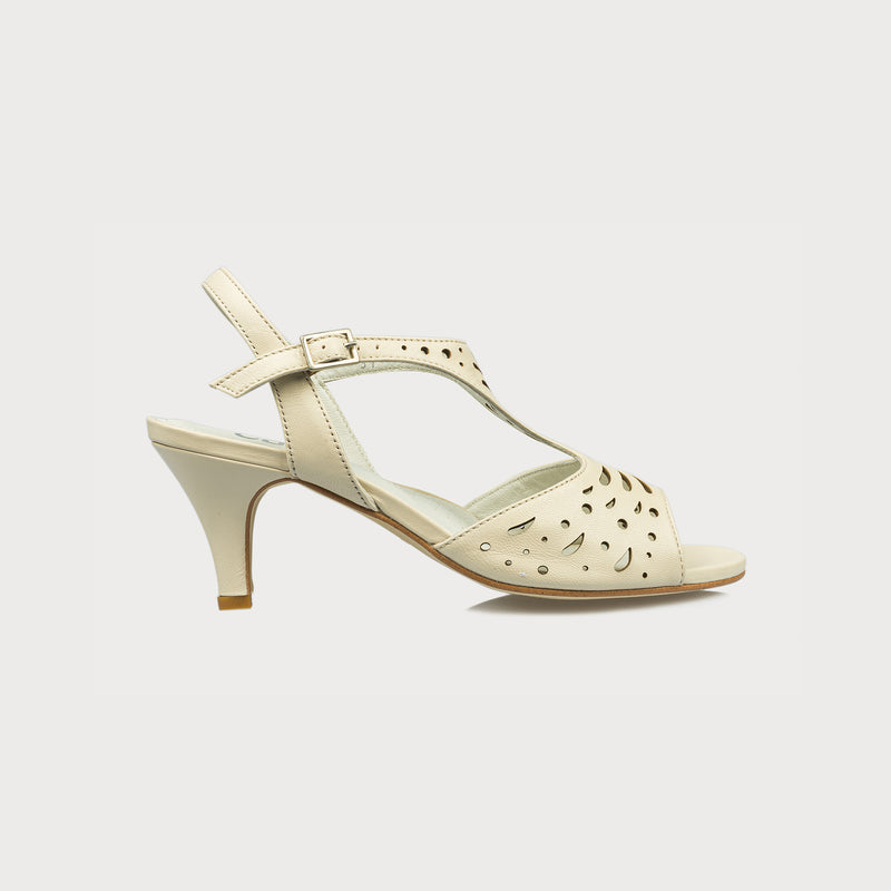 cream kitten heel sandal side view