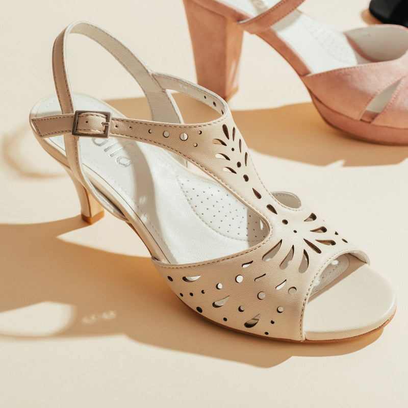 cream strappy sandal with a heel side view
