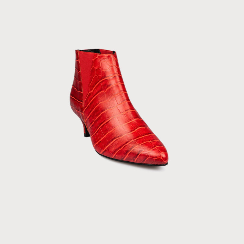 red bunion shoes mock croc leather kitten heel boots comfortable stylish