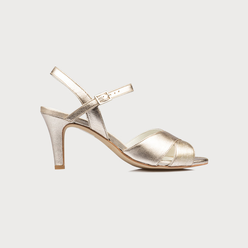 champagne leather heeled sandal side view