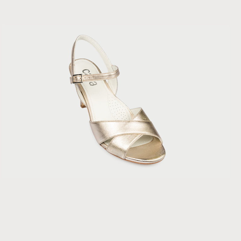 champagne leather heeled sandal front view