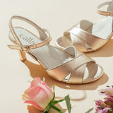 champagne leather mid heel sandals