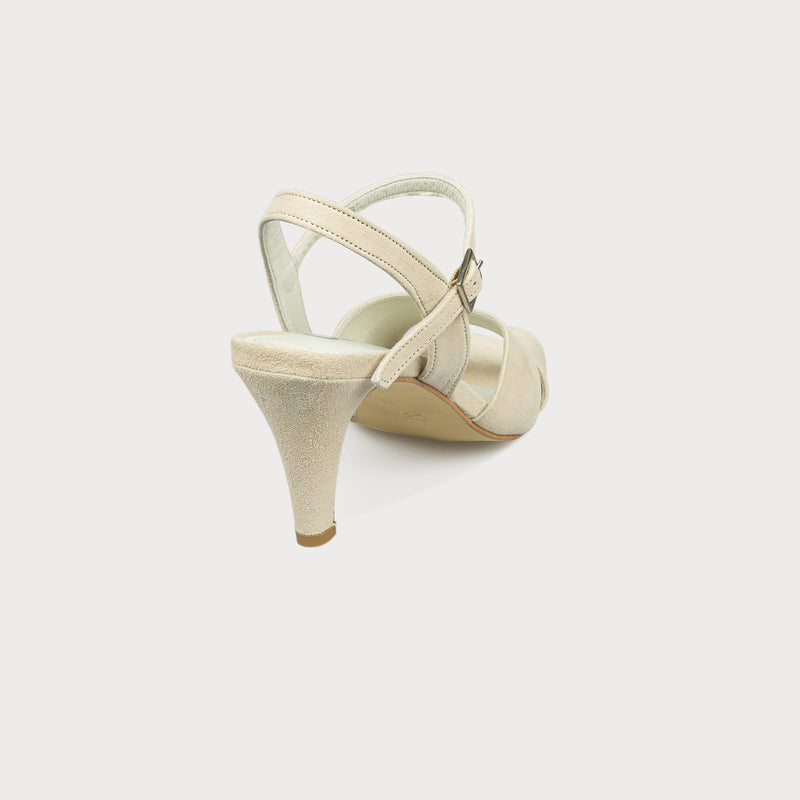 cream suede heeled sandal back
