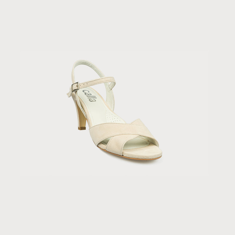 cream suede heeled sandal front