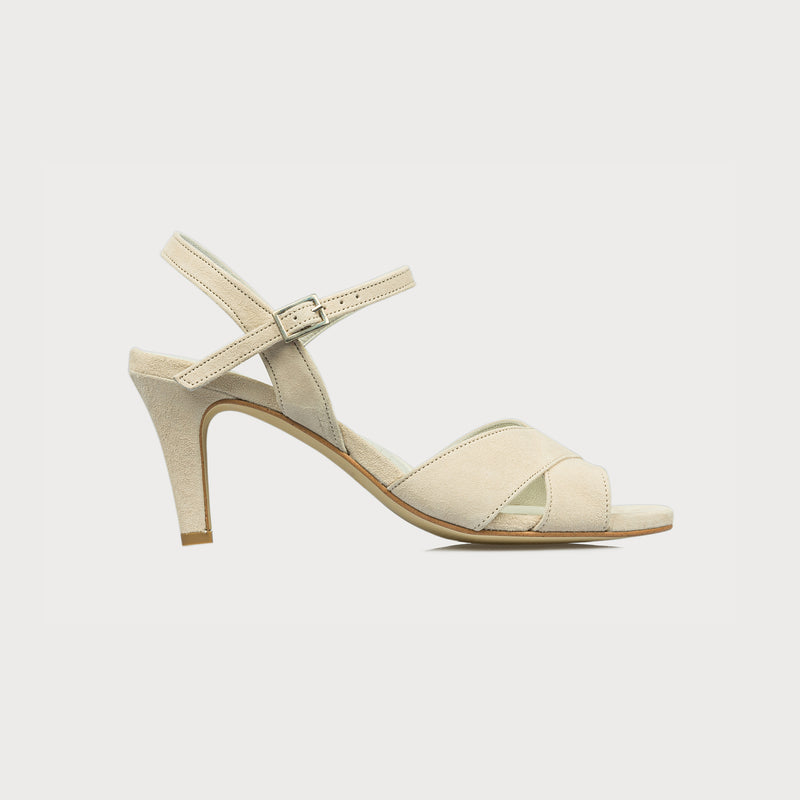 cream suede heeled sandal side