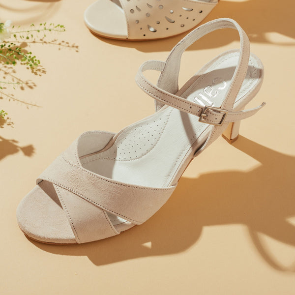 cream suede sandal top view