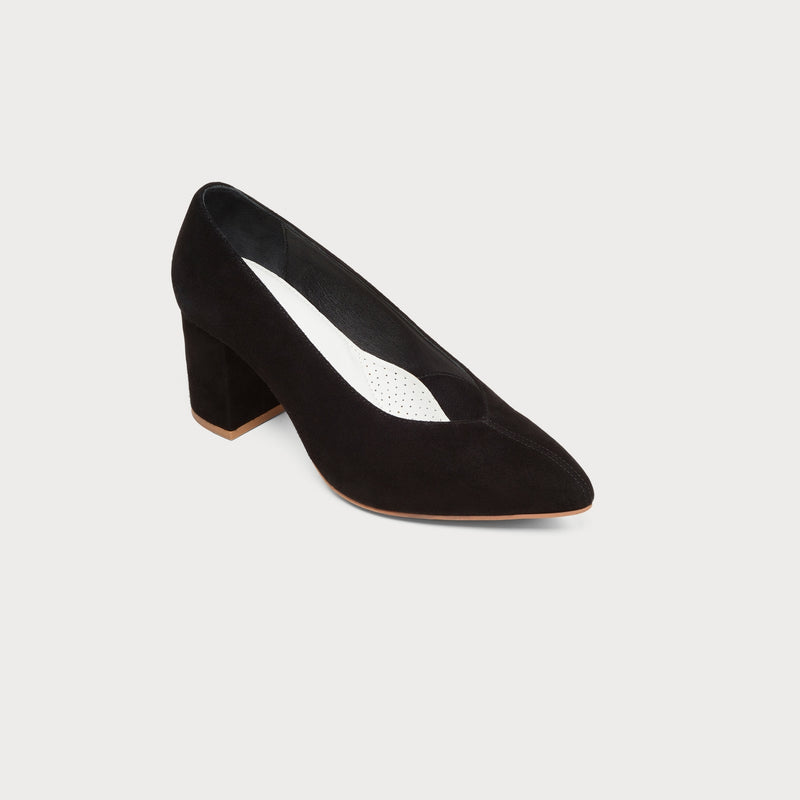 black suede heeled court shoe front view