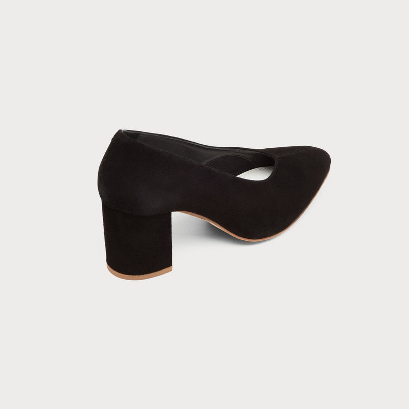 black suede heeled court shoe back view