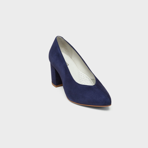 navy block heel front view