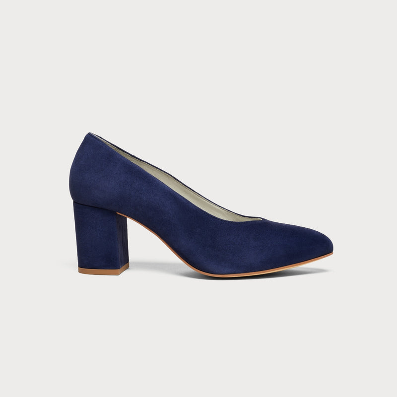navy block heel court shoe side view