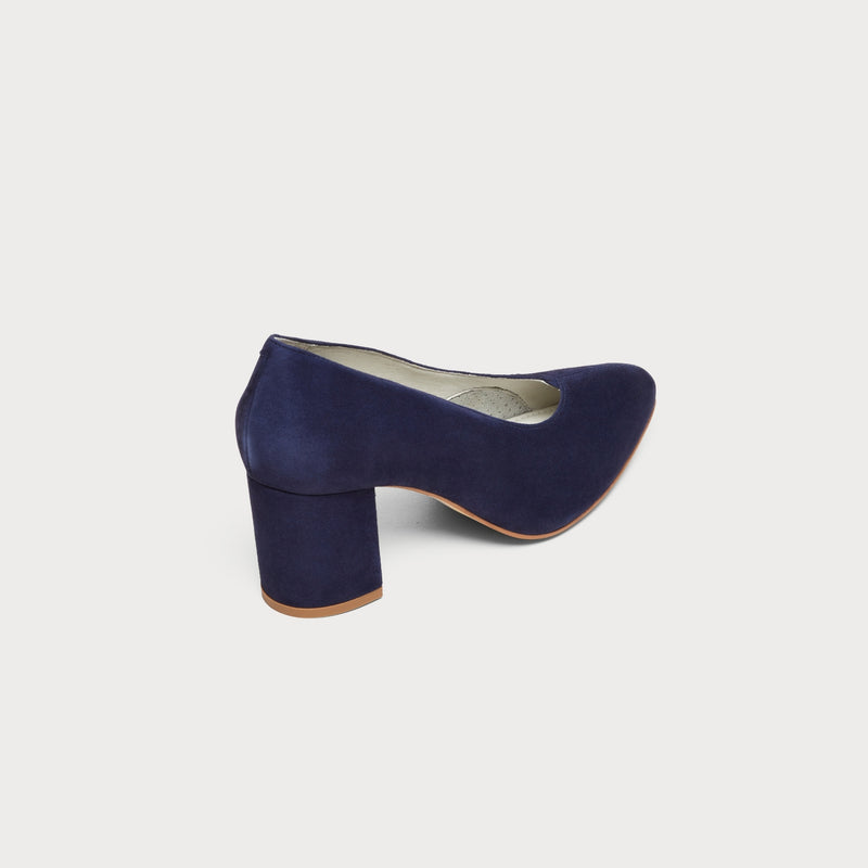 navy suede block heel back view