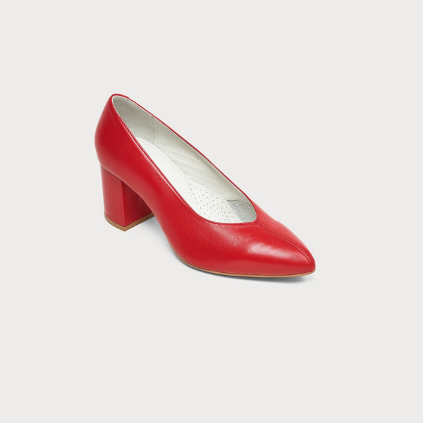 red block heel court shoe front view