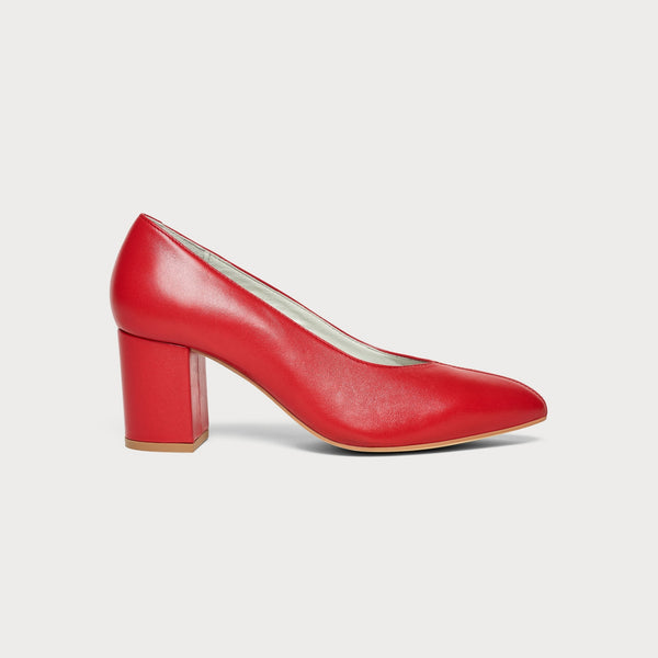 red block heel court shoe side view