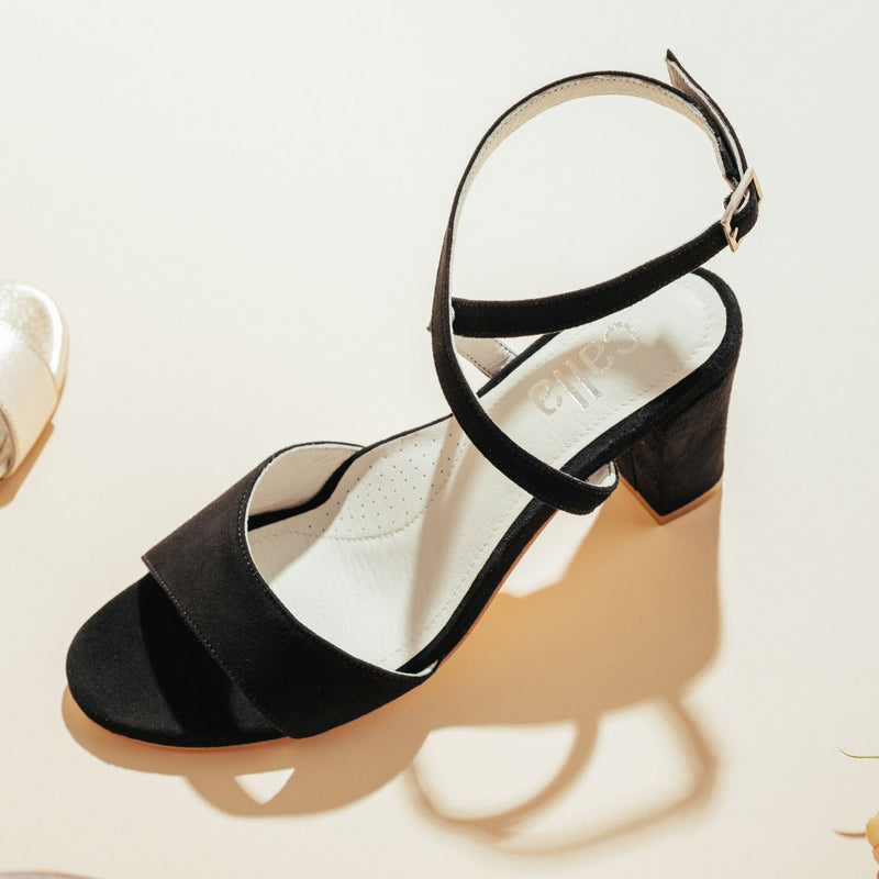black strappy heeled sandal top view