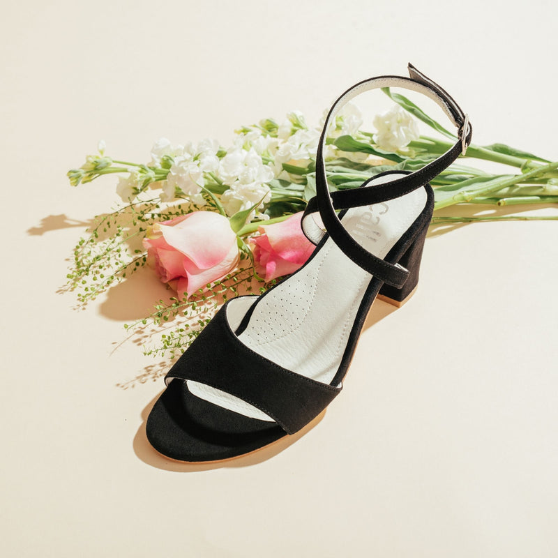 black heel sandal top view